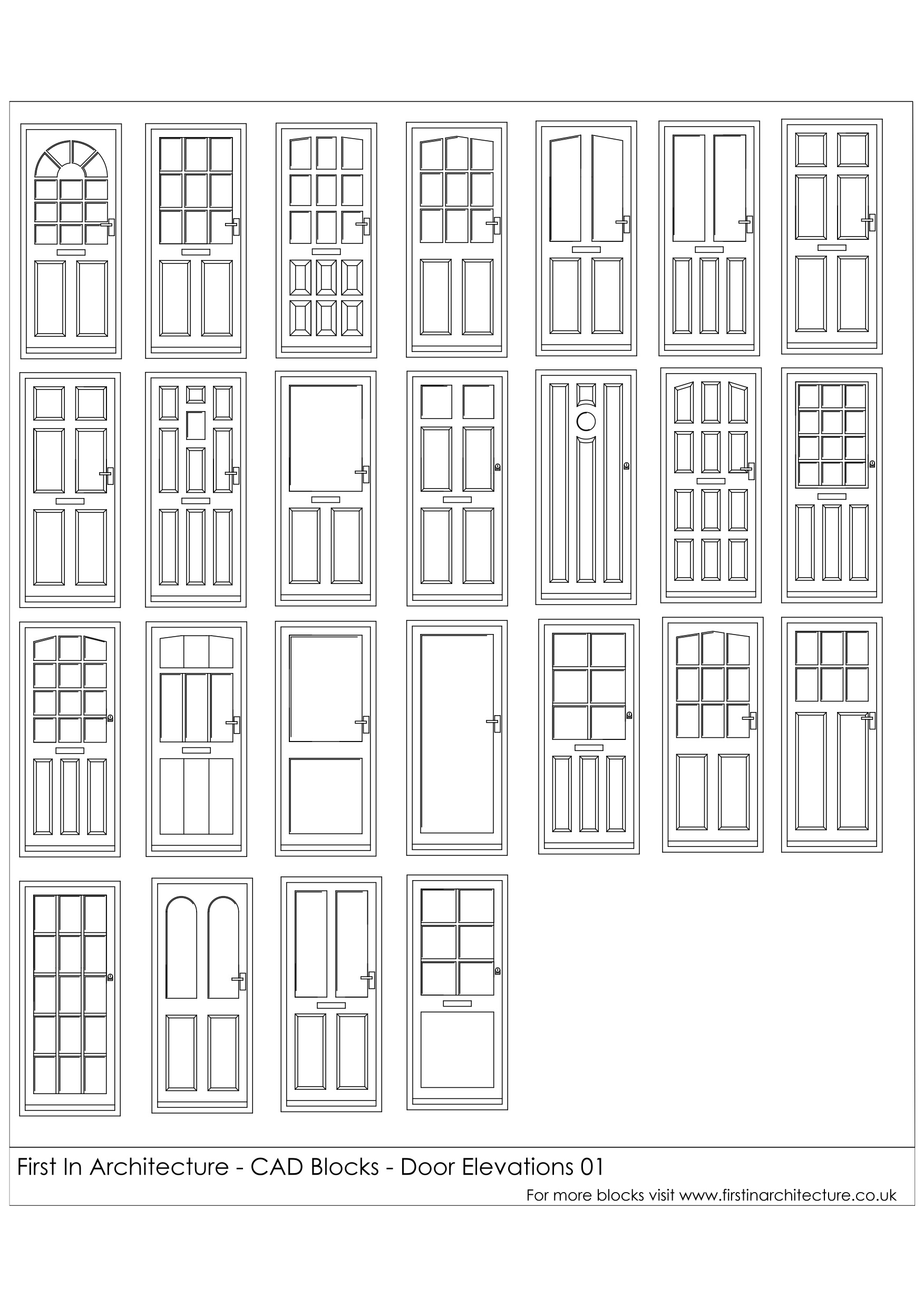 Free cad blocks door elevations for Online cad drawing
