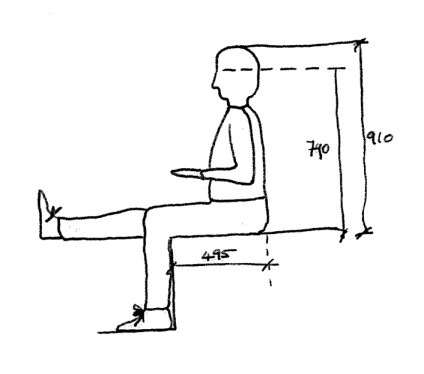 Man sitting dimensions