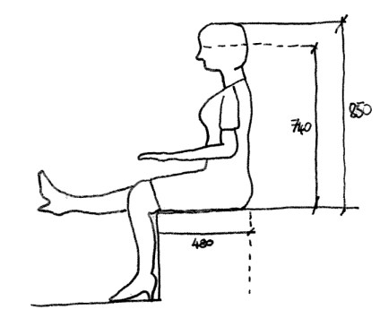 Woman sitting dimensions
