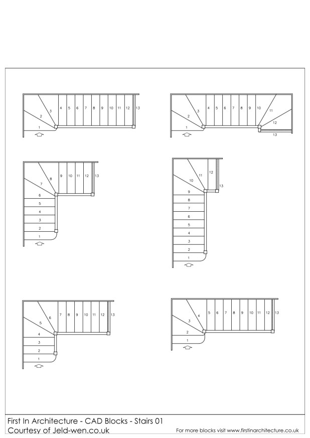 Free CAD Blocks Stairs First In Architecture