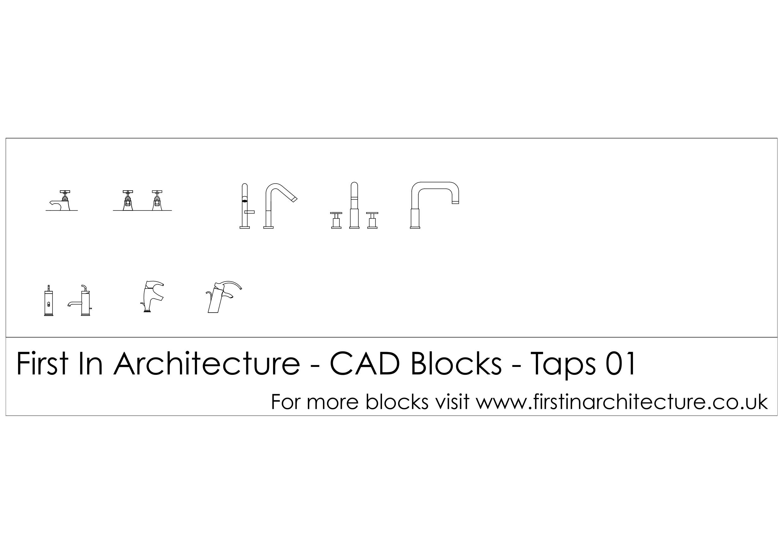 Free cad blocks taps for Bathroom sink cad block