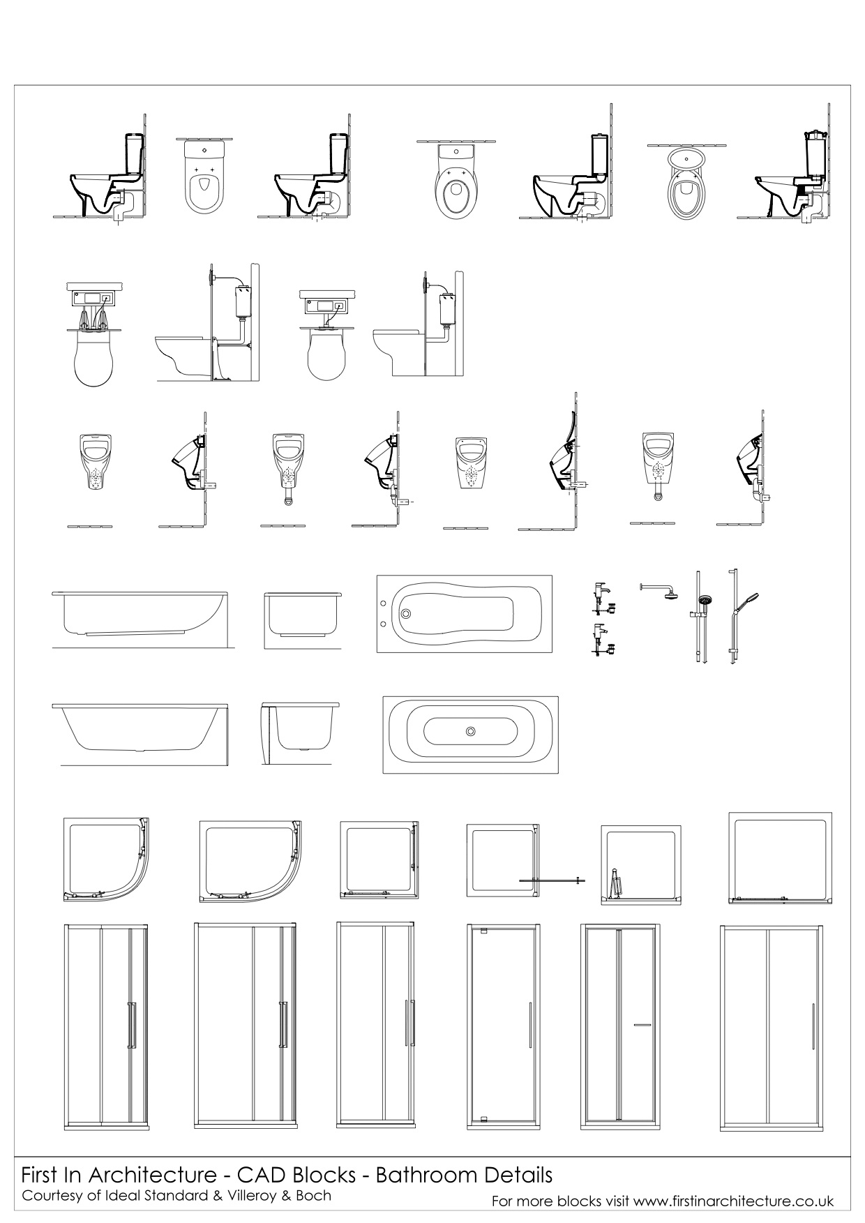 Free cad blocks bathroom details first in architecture Bathroom cad design online