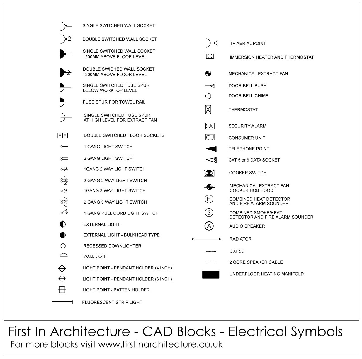 free cad blocks electrical symbols rh firstinarchitecture co uk CAD Symbol for Electrical Outlet Electrical Symbols for Blueprints