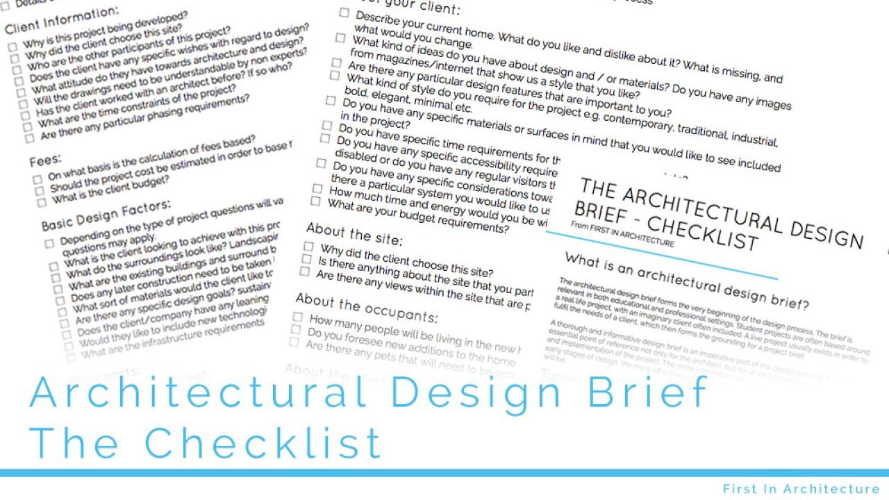 The Architectural Design Brief Checklist First In Architecture