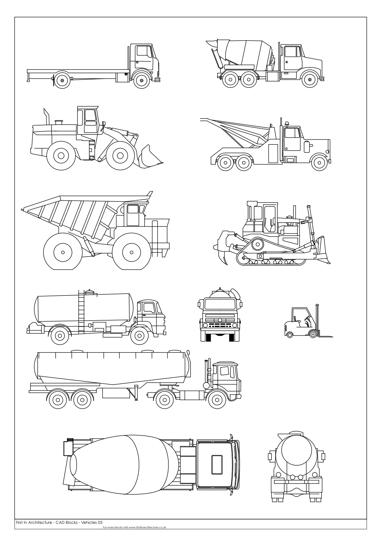 Free cad blocks vehicles 03 for Free architectural drawing program