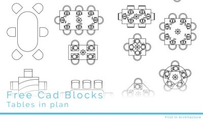 Free CAD Blocks – Furniture 07 Tables