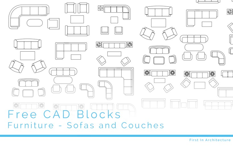 Cad blocks sofa set for Furniture drawing software free