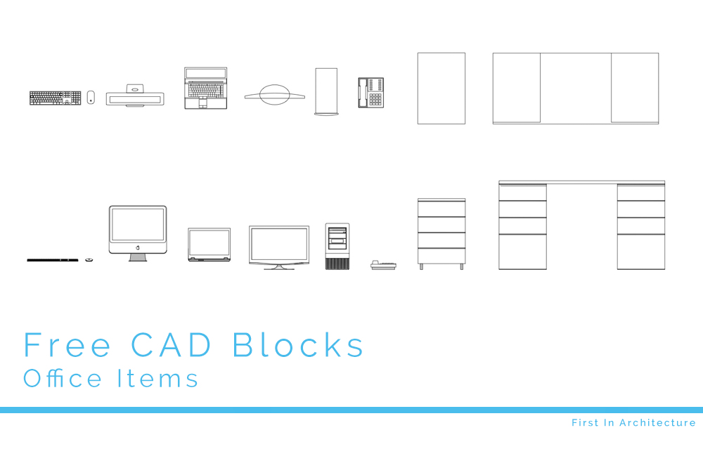 Free Cad Blocks Office Items Including Keyboards