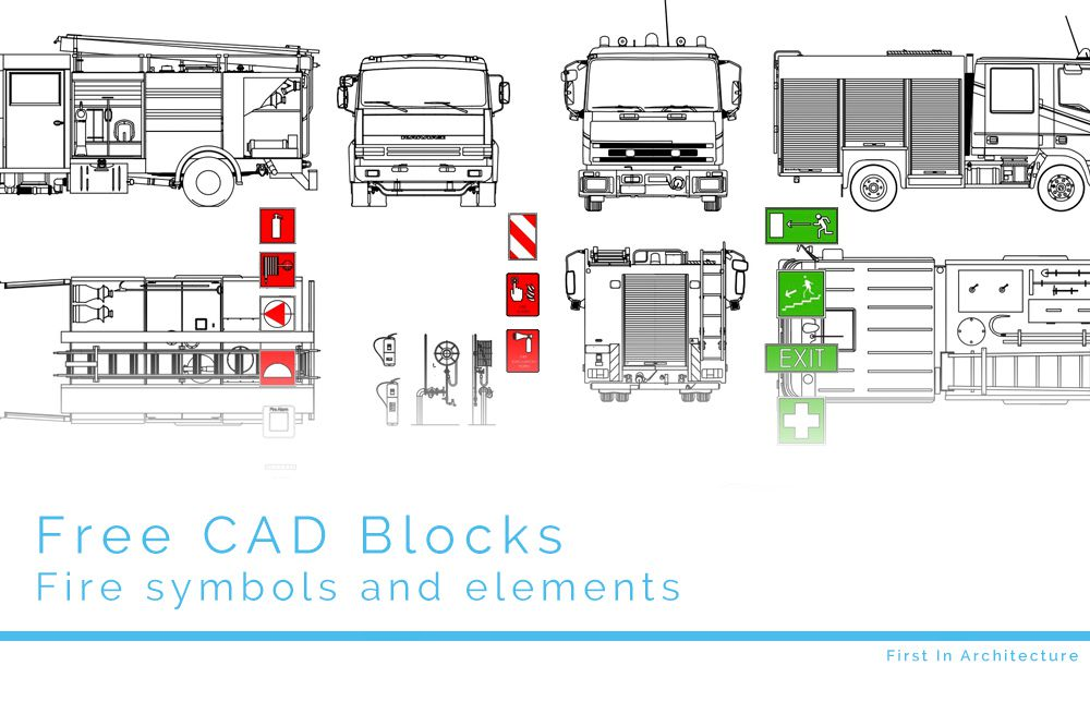 Free Cad Blocks Fire Elements And Symbols First In Architecture