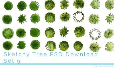 Hand drawn tree plans – Set 9