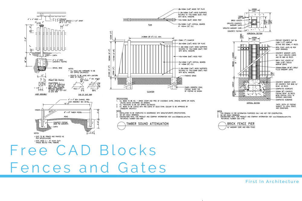 Free CAD Blocks – Fences and Gates