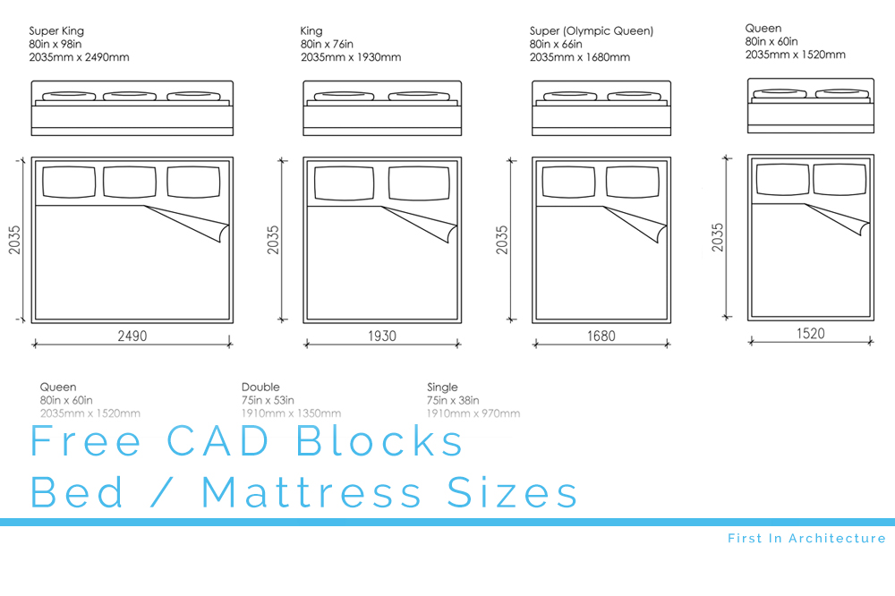 Free Cad Blocks Bed And Mattress Sizes In Both Mm And Inches
