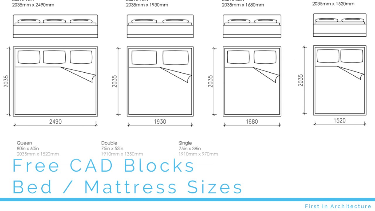 Free CAD Blocks - Bed and mattress sizes in both mm and inches