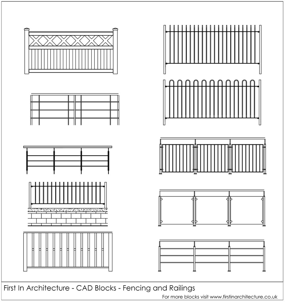 Free CAD Blocks - Fencing and railings for download