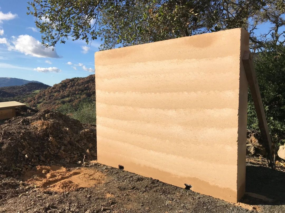 Rammed earth under construction