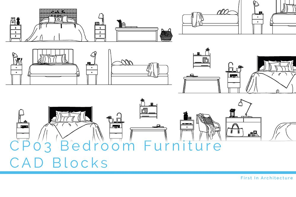 CP03 Bedroom Furniture CAD Blocks - First In Architecture