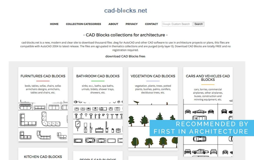 free cad blocks site