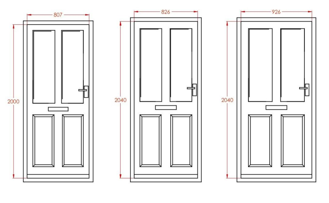 Standard door sizes ext ele metric
