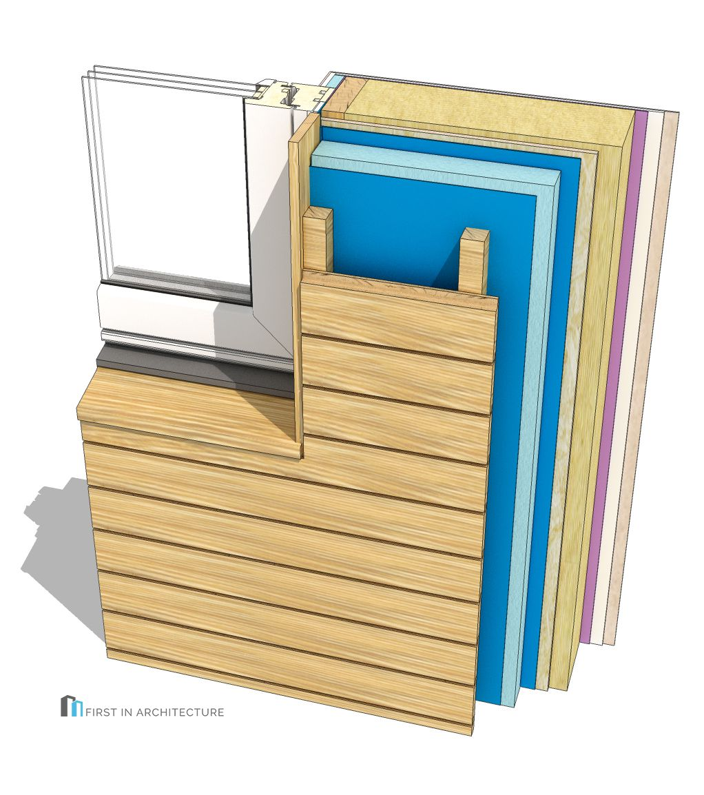 Horizontal Timber Cladding Window Jamb Detail 3D15