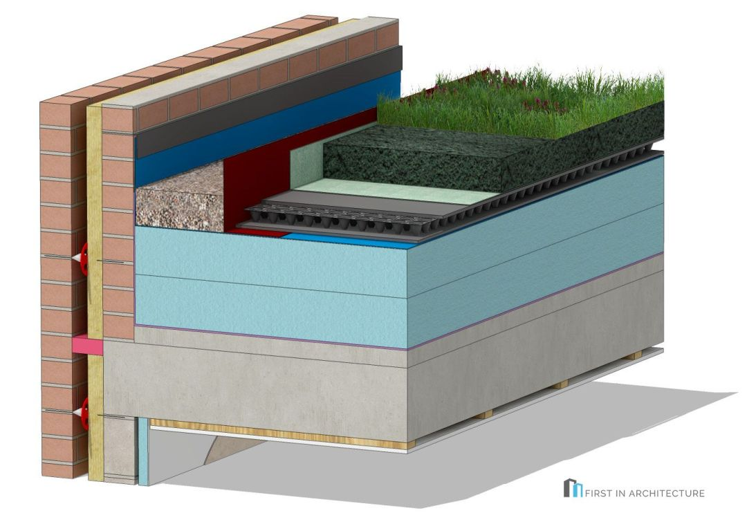 Green roof detail masonry cavity wall 3D