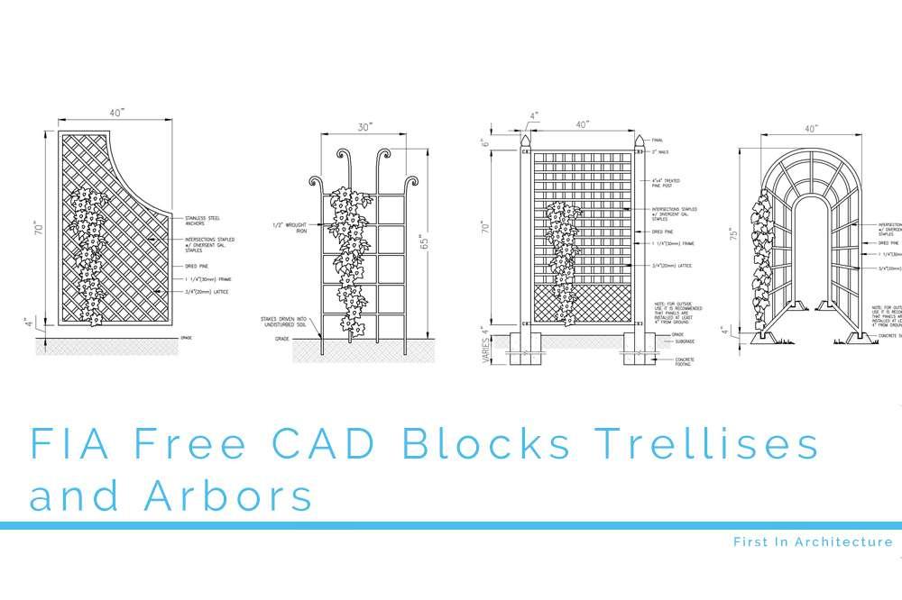 FIA Free CAD Blocks Trellises and Arbors