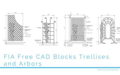 FIA Free CAD Blocks Trellises and Arbors