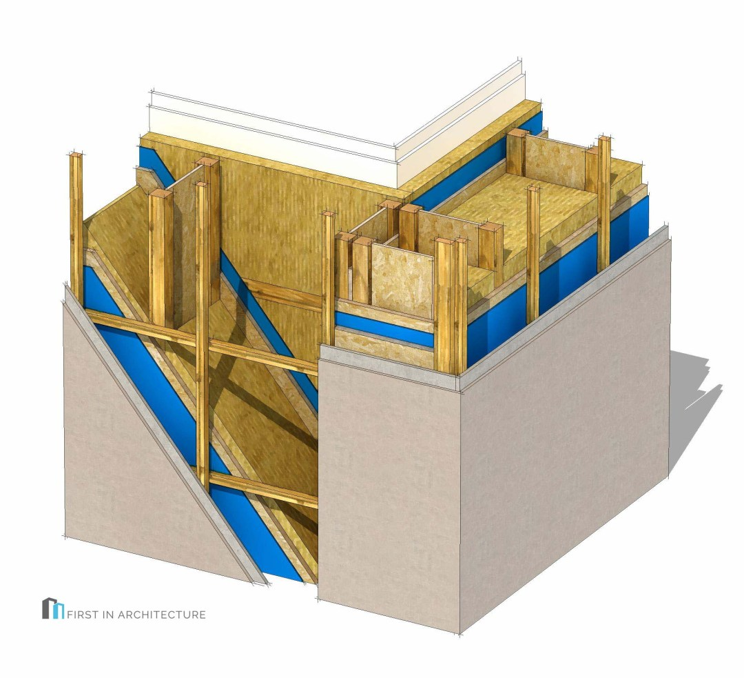 Timber I joist frame Passivhaus wall corner detail