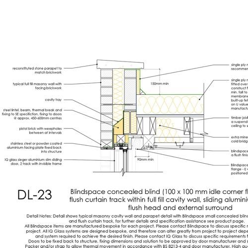 DL23 sliding aluminium door head detail thumb