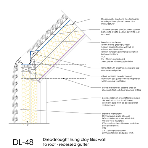DL48 hung clay tiles wall to roof recessed gutter detail