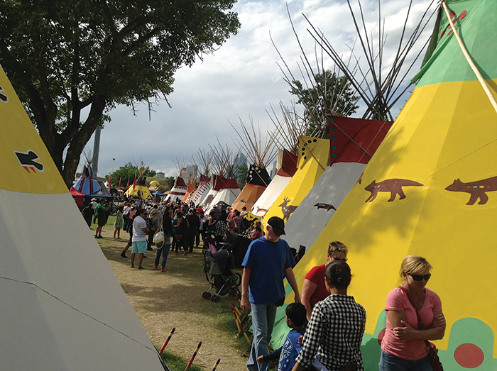 The Calgary Stampede Indian Village has participated since 1912. Five Treaty Seven First nations who camp together for the 10 day event include: Siksika, Kainai, Peigan, Tsuu Tina, and Nakoda. Photo Credit Kelly Many Guns