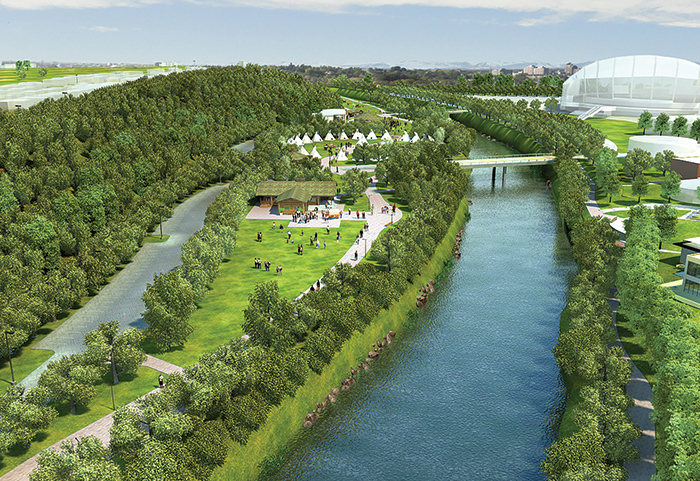 In 2016, the Indian Village will move to a new location on the Calgary Stampede grounds for the first time since the mid 1970's. Along the Elbow River, 16 acres are being transformed into a beautiful new inner city park and gathering place. It is also the new home for the Aboriginal peoples' programming and Indian Village during the Calgary Stampede, across from the relocated Kids' Midway and Agriculture Discovery Zone. Two large green spaces will invite people from youth campus and all over Calgary for inspiration, learning, and entertainment. A blessing ceremony is being planned for late September for the new park. Photo Credit Calgary Stampede