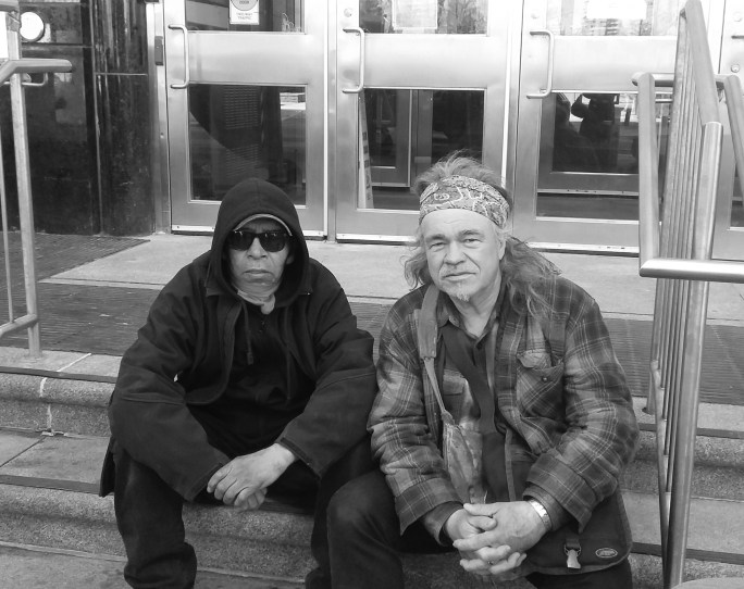 Gary Wassaykeesic (Left) and Danny Beaton (Right) at Indigenous and Northern Affairs Canada Toronto. Photo Credit: Greg Allan