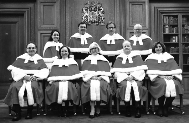 The Supreme Court falls short on the diversity front in several ways. Justice Thomas Cromwell (front row second front right) has retired, leaving his seat open. (Source: Montreal Gazette)