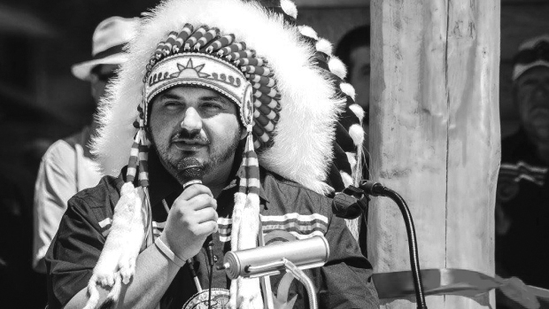 Tobique First Nation Chief Ross Perley speaks. Photo Credit: CBC News - Julianne Hazlewood
