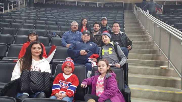 Part of the Northern Saskatchewan Group attending Canadiens practice