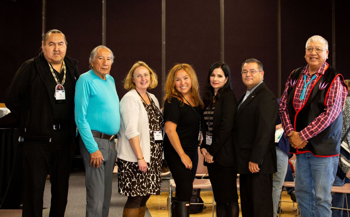 Photo of Ira Provost, Dr. Leroy Little Bear, Julaine Guitton, Dr. Pamela Rose Toulouse. Dr. Michelle Hogue, Darren Googoo, Francis First Charger. Photo by EdCan Network.