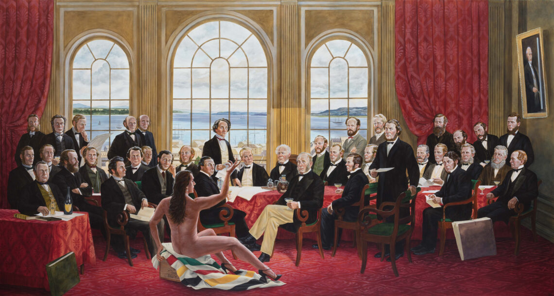 "The Daddies. By Kent Monkman, 2016. Acrylic on canvas, 60"" x 112.5"". Collection of Christine Armstrong and Irfhan Rawji."