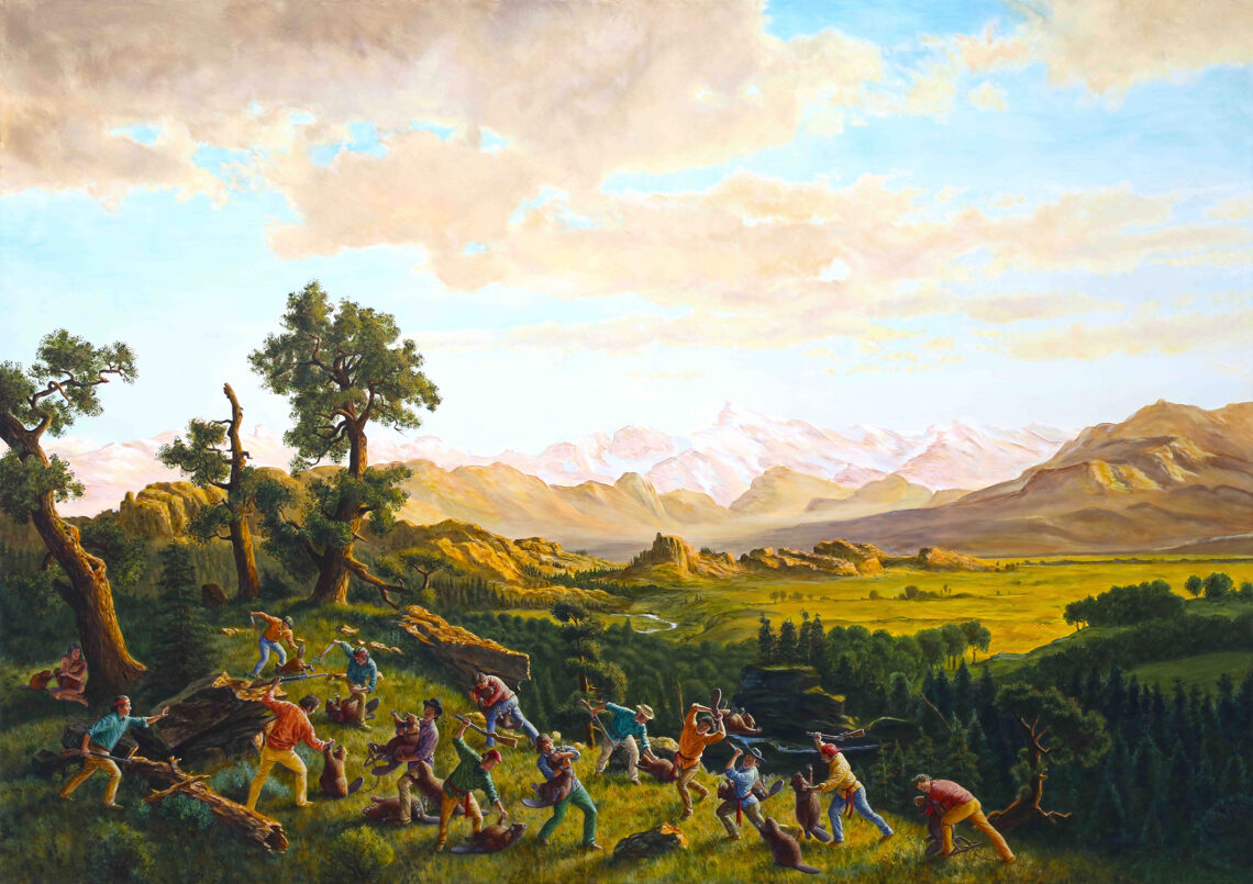 "The Massacre of the Innocents. By Kent Monkman, 2015. Acrylic on canvas, 72"" x 102"". Collection of John Bilton."