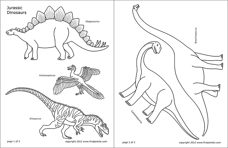Jurassic Dinosaurs Free Printable Templates Coloring Pages Firstpalette Com