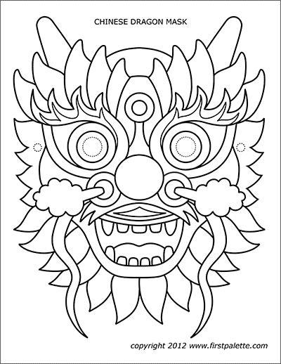 chinese dragon mask templates