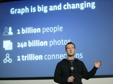 Mark Zuckerberg at the launch of Graph Search. AFP