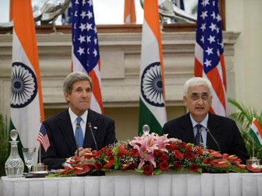 John Kerry and Salman Khurshid. AFP