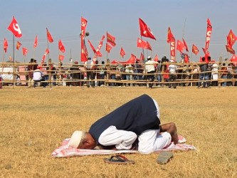 A Muslim supporter of the CPM offers prayers during a rally in Kolkata. Reuters file image