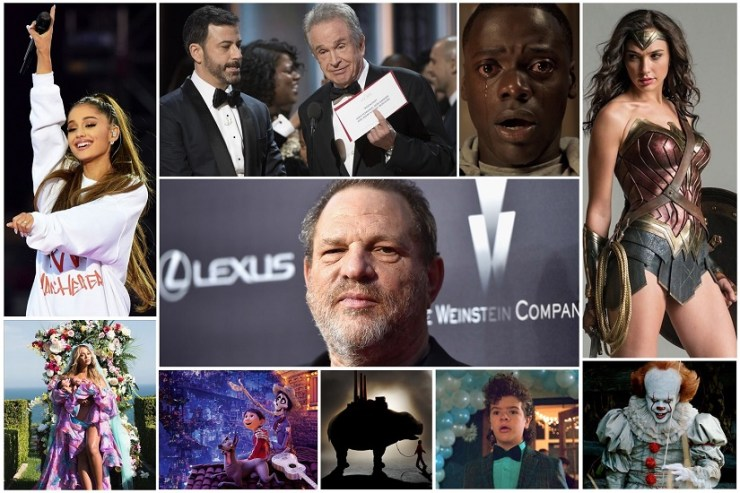 A collage of some of 2017's top entertainment news stories