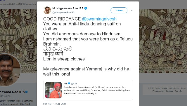 Disgraceful unfortunate ExCBI chief Nageswara Rao faces flak for his remark on Swami Agniveshs demise