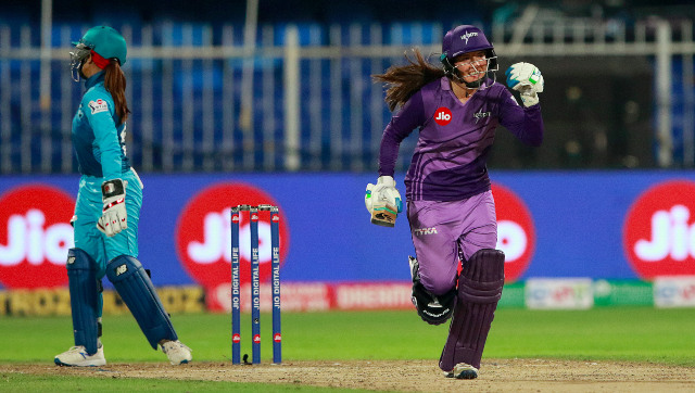 Velocity's Sune Luus pumps her fist in celebration after hitting the winning boundary in the final over of the chase. Sportzpics