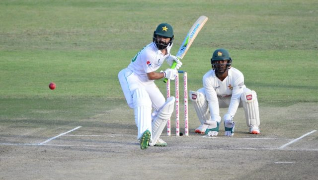 Fawad Alam in action on Day 2 of first Test between Zimbabwe and Pakistan. Image: Twitter/@TheRealPCBMedia