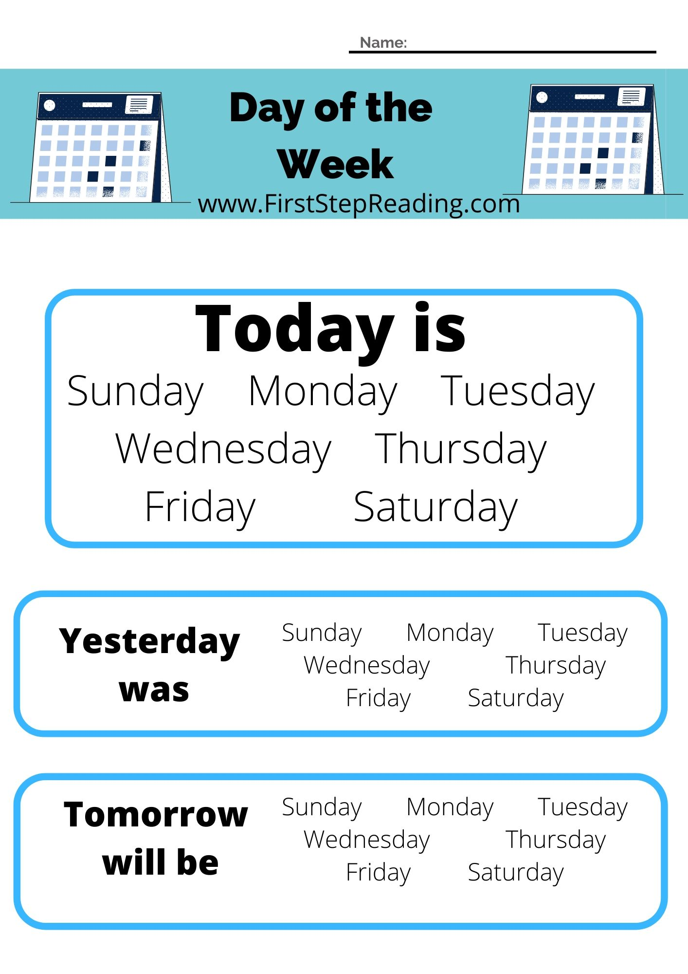 Calendar Day Of The Week Worksheet