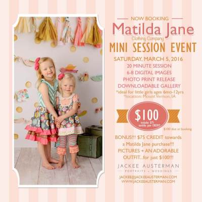 A picture of children in Matilda Jane clothing for a Jackee Auterman Photography - Matilda Jane Mini Session Event