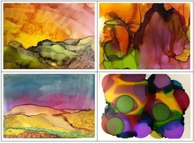Picture of paintings made using Alcohol Ink for Adult & Child